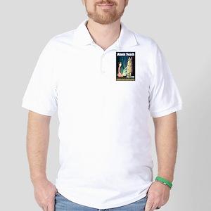 Miami Beach Art Deco Railway Print Golf Shirt