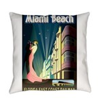 Miami Beach Art Deco Railway Print Everyday Pillow