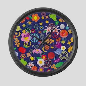 Boho floral Large Wall Clock