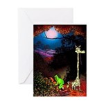 Giraffe and Frog Art Deco Abstract Fantasy Print G