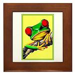 Abstract Fantasy Art Deco Tree Frog Framed Tile