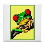 Abstract Fantasy Art Deco Tree Frog Tile Coaster