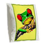 Abstract Fantasy Art Deco Tree Frog Burlap Throw P
