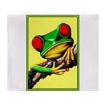 Abstract Fantasy Art Deco Tree Frog Throw Blanket