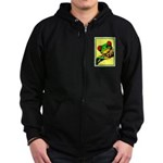 Abstract Fantasy Art Deco Tree Frog Zipped Hoodie