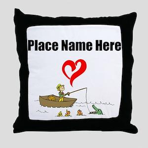 Loves Fishing Throw Pillow
