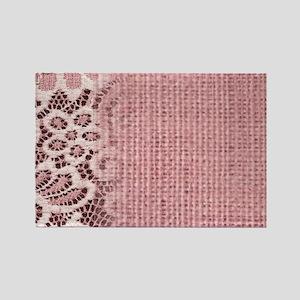 rustic pink burlap lace Magnets