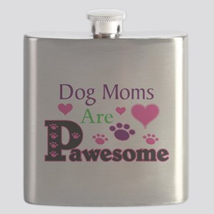 Dog Moms Are Pawesome Flask
