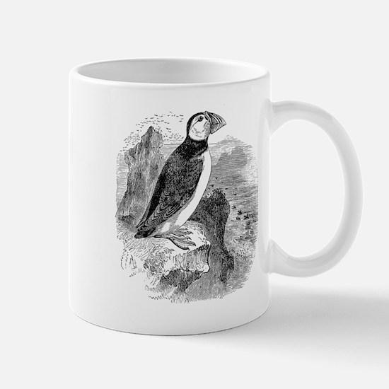 Vintage Arctic Puffin Bird Black White Mugs