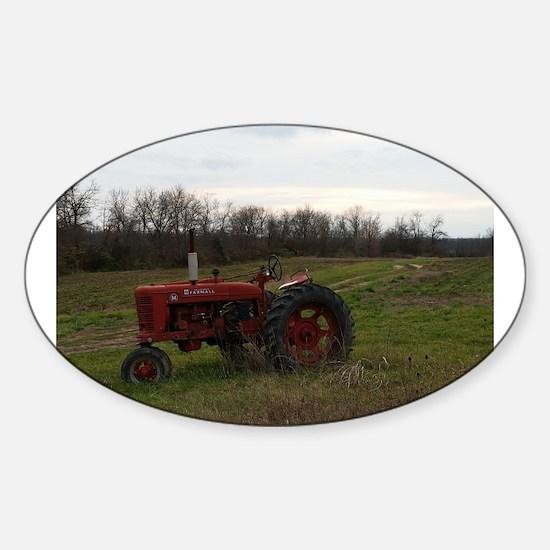 Cute Tractor Sticker (Oval)