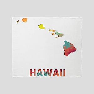 Mosaic Map HAWAII Throw Blanket