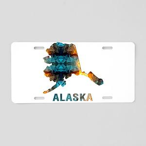 Mosaic Map ALASKA Aluminum License Plate