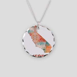 Mosaic Map CALIFORNIA Necklace Circle Charm