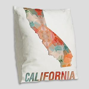 Mosaic Map CALIFORNIA Burlap Throw Pillow
