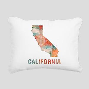 Mosaic Map CALIFORNIA Rectangular Canvas Pillow