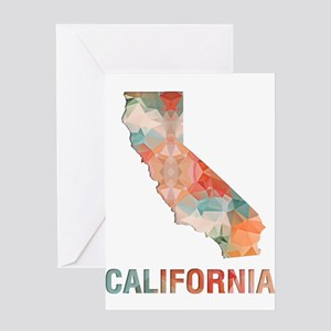 Mosaic Map CALIFORNIA Greeting Cards