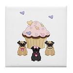Pug Dog Cupcakes Tile Coaster