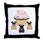 Pug Dog Cupcakes Throw Pillow