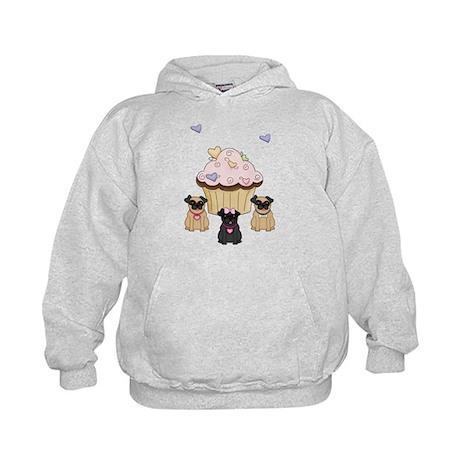 Pug Dog Cupcakes Kids Hoodie