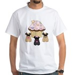 Pug Dog Cupcakes White T-Shirt