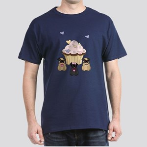 Pug Dog Cupcakes Dark T-Shirt