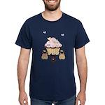 Pug Dog Cupcakes Dark T-Shirt