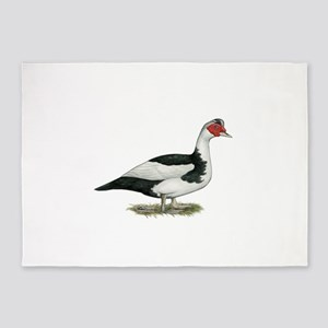 Muscovy Black Pied Drake 5'x7'Area Rug