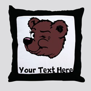Bear Winking (Custom) Throw Pillow