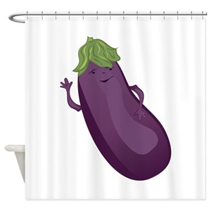 Funny Eggplant Shower Curtains
