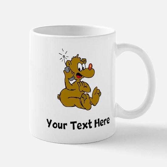 Bear On Phone (Custom) Mugs