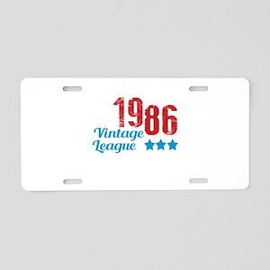 1986 Vintage League Aluminum License Plate