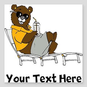 "Bear Lounging (Custom) Square Car Magnet 3"" x 3"""