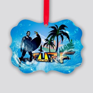 Surfing, surfboarder with toucan Ornament