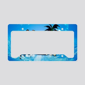Surfing, surfboarder with toucan License Plate Hol