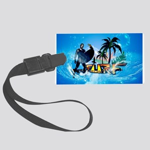 Surfing, surfboarder with toucan Luggage Tag