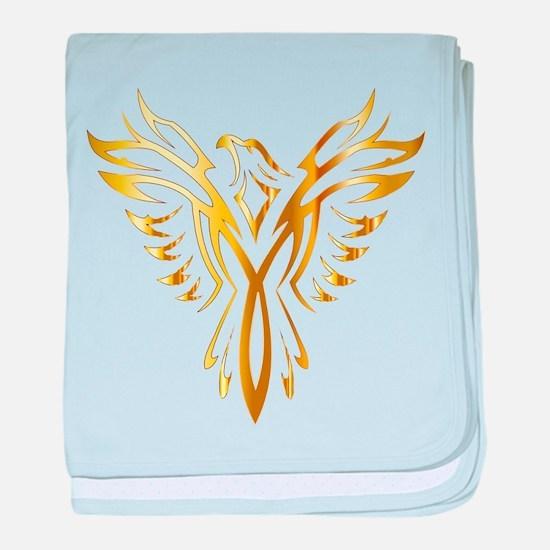 Phoenix Bird Gold baby blanket