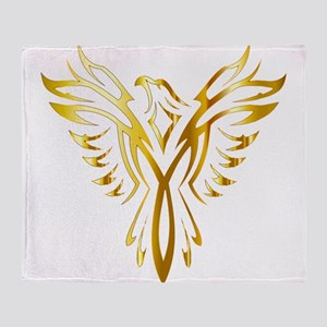 Phoenix Bird Gold Throw Blanket