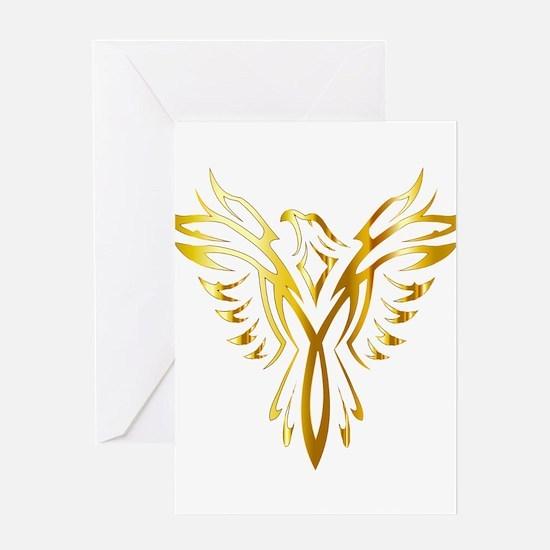 Phoenix Bird Gold Greeting Cards