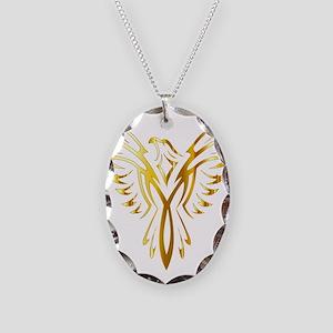 Phoenix Bird Gold Necklace Oval Charm