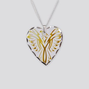 Phoenix Bird Gold Necklace Heart Charm