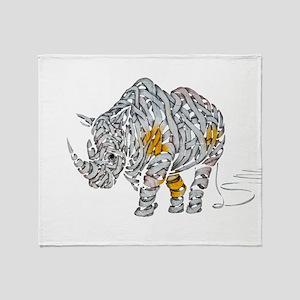 Paper Rhino Throw Blanket