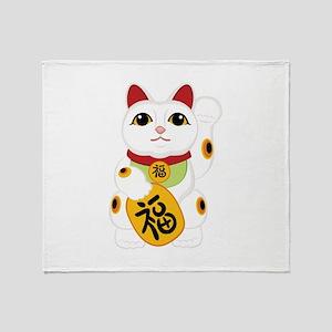 Asian Kitty Throw Blanket