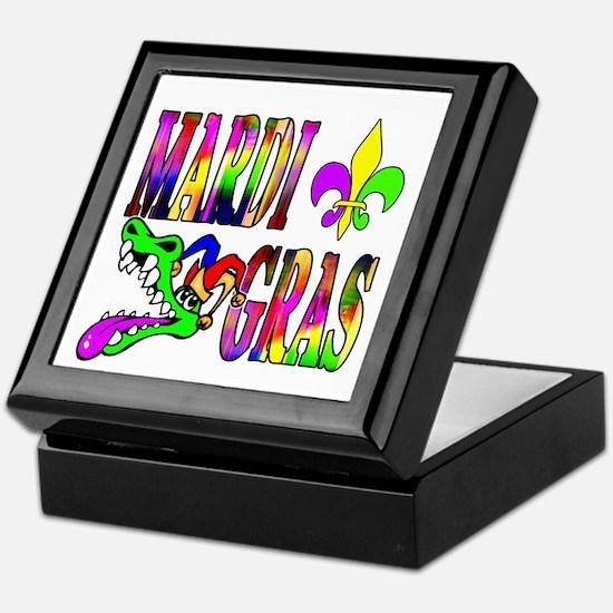 Mardi Gras with Gator Keepsake Box