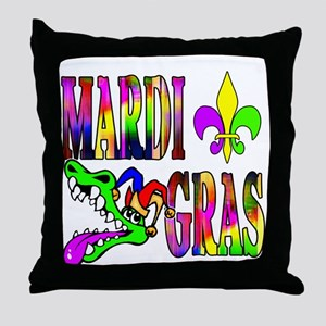 Mardi Gras with Gator Throw Pillow