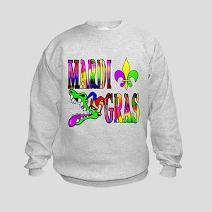 Mardi Gras with Gator Kids Sweatshirt