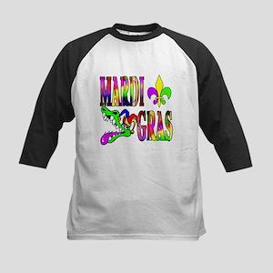 Mardi Gras with Gator Kids Baseball Jersey