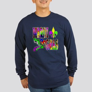 Mardi Gras with Gator Long Sleeve Dark T-Shirt