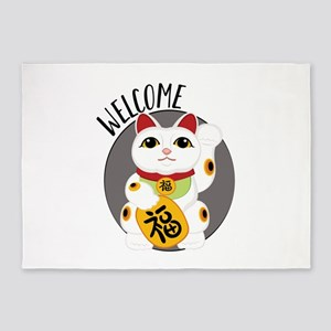 Welcome Kitty 5'x7'Area Rug