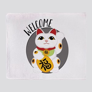 Welcome Kitty Throw Blanket
