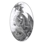Water Dragon Drawing Oval Sticker